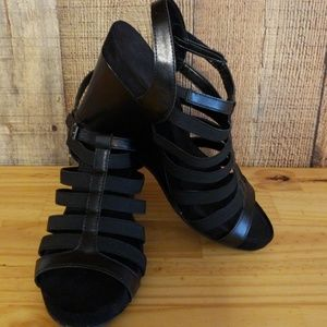 Shoes - Black strappy wedges size 10
